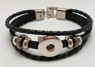 Black Leather Snap Bracelet