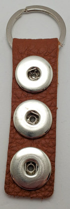 Tan Leather Snap Keychain.  Holds 3 Snaps as shown
