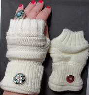 Cream/White Colored Fingerless Snap Handwarmers.   NOTE: snap not included