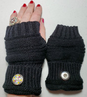 Black Fingerless Snap Handwarmers