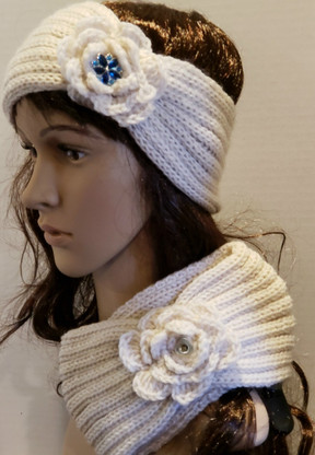 Cream Colored Snap Winter Headband.  NOTE:  Snap not included
