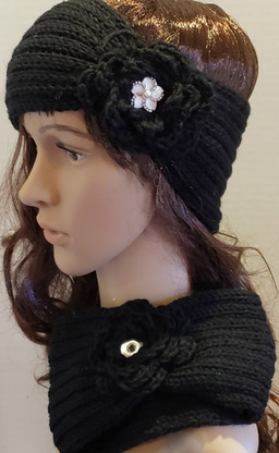Black Snap Winter Headband.  NOTE: Snap not included