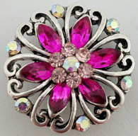 SN-271  Red/Pink Crystal Flower