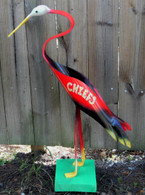EVERY KC Chiefs Fan needs one!!!  Every Bird is HANDMADE & HAND PAINTED .  Bird can be displayed INDOORS or OUTDOORS.  Base is INCLUDED with FREE SHIPPING!!