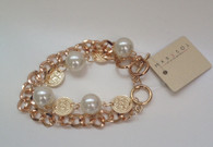 Coin and Pearl Chain Bracelet