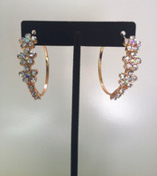 Gold Hoop with Crystal FLower