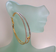 Double Gold Hoop with Rhinestone Dust