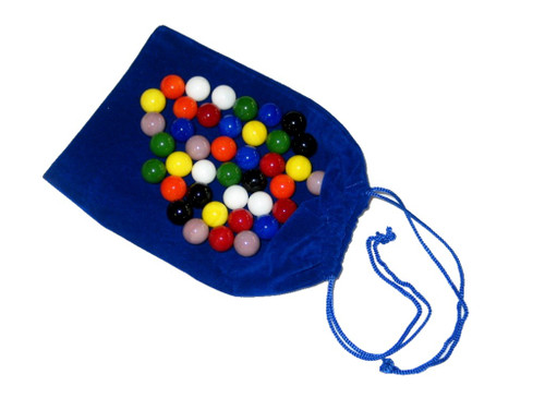 "40 - 9/16"" Glass marbles and drawstring storage pouch"