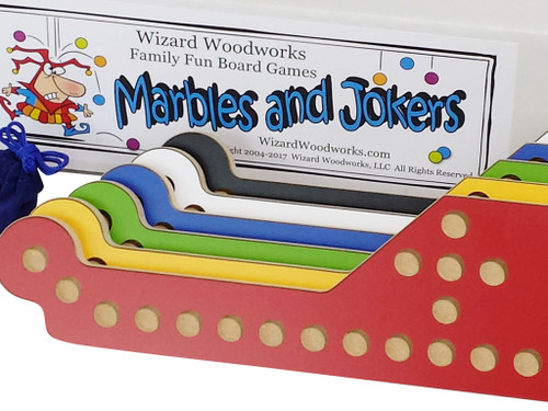 Marbles & Jokers 6-Player set with matching glass marbles and sturdy storage box.