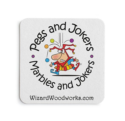 Add a set of playful Pegs and Jokers drink coasters to your order!