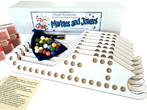 """""""All White"""" Marbles and Jokers Game comes complete with everything needed to play!"""
