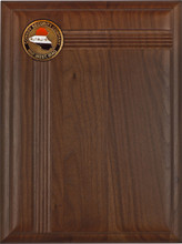 "Genuine walnut plaque for 2"" coin/mylar. Custom decorative grooves. Key vertical layout"