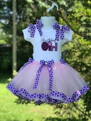 PURPLE RIBBON TRIM TUTU SET