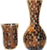 MOSAIC VASE AND 1 CANDLEHOLDER