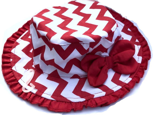 White Hat with Red Chevron stripes