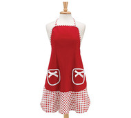 RED WHITE POLKA DOT APRON