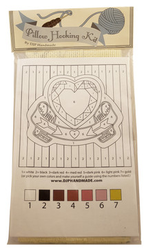 Heart & Banner with Stripes Pillow Hooking Kit