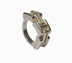 Mens Sterling Silver Moveable Link Ring