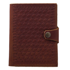 Rambler Passport Travel Wallet- Basket Weave hand stamp