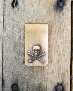 Solid Brass Skull & Crossbones Money clip