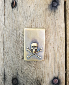 Solid Brass Skull & Cross Bones Short Money Clip
