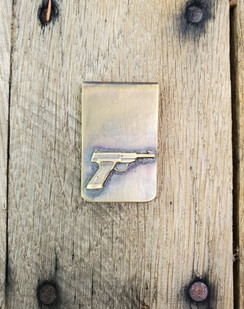 Solid Brass Short Browning Pistol Money Clip