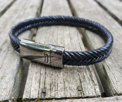 Flat Braided Leather Bracelet