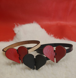 Interlocking Leather Heart Bracelet