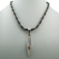 Sterling Silver Clad Modern Faceted Pendant with Amber Stone Necklace