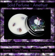 Amethyst  ~ Crystal Meaning: Money/Power/Protection/Wisdom/Purification/Prophecy/Stress Relief  Amethyst Scent: YlangYlang, Jasmine, Vanilla (matches Sky Soap)