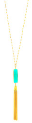 Emerald Green Quartz Tassel Necklace