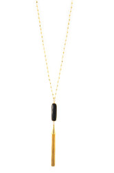 Black Onyx Bezel Tassel Necklace