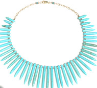 Spike Turquoise Howlite and Czech Crystal Necklace