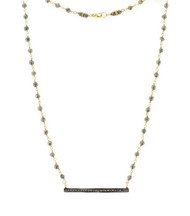 Pave Daimond Bar and Pyrite Necklace