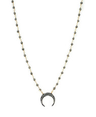 Rose Cut Pave Diamond Cresent Moon and Pyrite Necklace