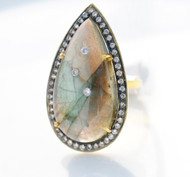 Tear drop labradorite and topaz ring