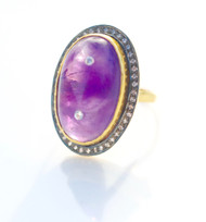 Amethyst inlayed and bezel set with pave white sapphires