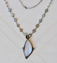 large oxidized moonstone pendant with labradorite chain