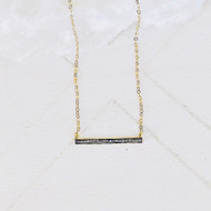 Dainty rose cut diamond gold vermeil bar necklace