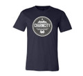"Charmcity Skatepark's ""Icon-Logo"" T-Shirt in Navy Colorway This is an official Charmcity Skatepark ""Icon Logo"" T-shirt in the Navy colorway. The Icon features the CLASSIC Charmcity City Scape along with a City Anchor and a Chesapeake Blue Crab straight from the inner harbor."