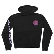 The Brain Dot Zip Hoodie is a black hoodie with a Brain Santa Cruz logo on the top left of the hoodie.