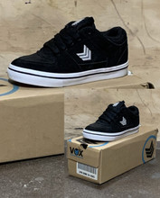 This is a high quality VOX Trooper Model in black with a white Vulcanized sole. This skate shoe is in Youth Size 13. Its Vulcanized for maximize grip on your board. Don't miss out on this clearance price. *****There might be slight discoloration from shoes that were on display in the shop!*****