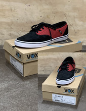 This is a high quality VOX Classx Model in Red / Black Colorway with a white Vulcanized sole. This skate shoe is Size 12. Its Vulcanized for maximize grip on your board. Don't miss out on this clearance price. *****There might be slight discoloration from shoes that were on display in the shop!*****
