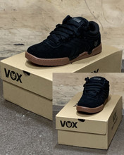 This is a high quality VOX Silo Model High Top in black with a vulcanized Gum Sole. This skate shoe is in Youth Size 4. Its Vulcanized and Gum for maximize grip on your board. Don't miss out on this clearance price. *****There might be slight discoloration from shoes that were on display in the shop!*****