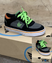 This is a high quality VOX Trooper Model in the Black/Orange colorway with white vulc soles. This skate shoe is in Youth Size 13. Its Vulcanized for maximize grip on your board. Don't miss out on this clearance price. *****There might be slight discoloration from shoes that were on display in the shop!*****