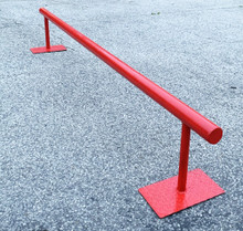 """This is a Charmcity Builds Flat Bar in the Candy Apple Red Colorway. It features a round rail that is 8' Long and 12"""" High."""