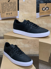 This is a high quality HUF Soto Team Model in the Black colorway. It features a specially formulated rubber compound that is significantly more durable and grippier than standard formulas. The rubber's chemistry is fine tuned to produce a softer, stickier feel improving grip and performance on a skateboard. The softer durometer of the rubber also maximizes flexibility to aid board feel, while simultaneously outlasting standard rubbers in abrasion testing. Its in size 10.5. *****There might be slight discoloration from shoes that were on display in the shop!*****