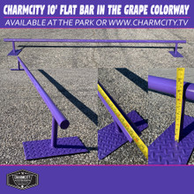 """This is a Charmcity Builds Flat Bar in the Grape Colorway. It features a round rail that is 10' Long and 10"""" High. This rail is fun for days. Super Long nice and low for comfortable slides and grinds!  For better shipping rates or delivery call the park at 1-410-327-7909."""
