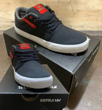 Founded in 2006, SUPRA® is one of the worlds leading independent footwear brands. SUPRA is recognized for its groundbreaking silhouettes, unique combination of materials, and dynamic color stories. Originally born out of Southern California skateboard culture, SUPRA has remained firmly committed to its roots while also offering distinctive and compelling products to a broad, international audience that includes some of the world's most recognized celebrities, artists, and athletes. This is the Supra Stacks 2 in the Red Black / White Colorway. Its in YOUTH Size 3.5. It features a vulcanized sole for grippy board feel and maximum control. *****There might be slight discoloration from shoes that were on display in the shop!***** Its in size Youth SIZE 3.5. *****
