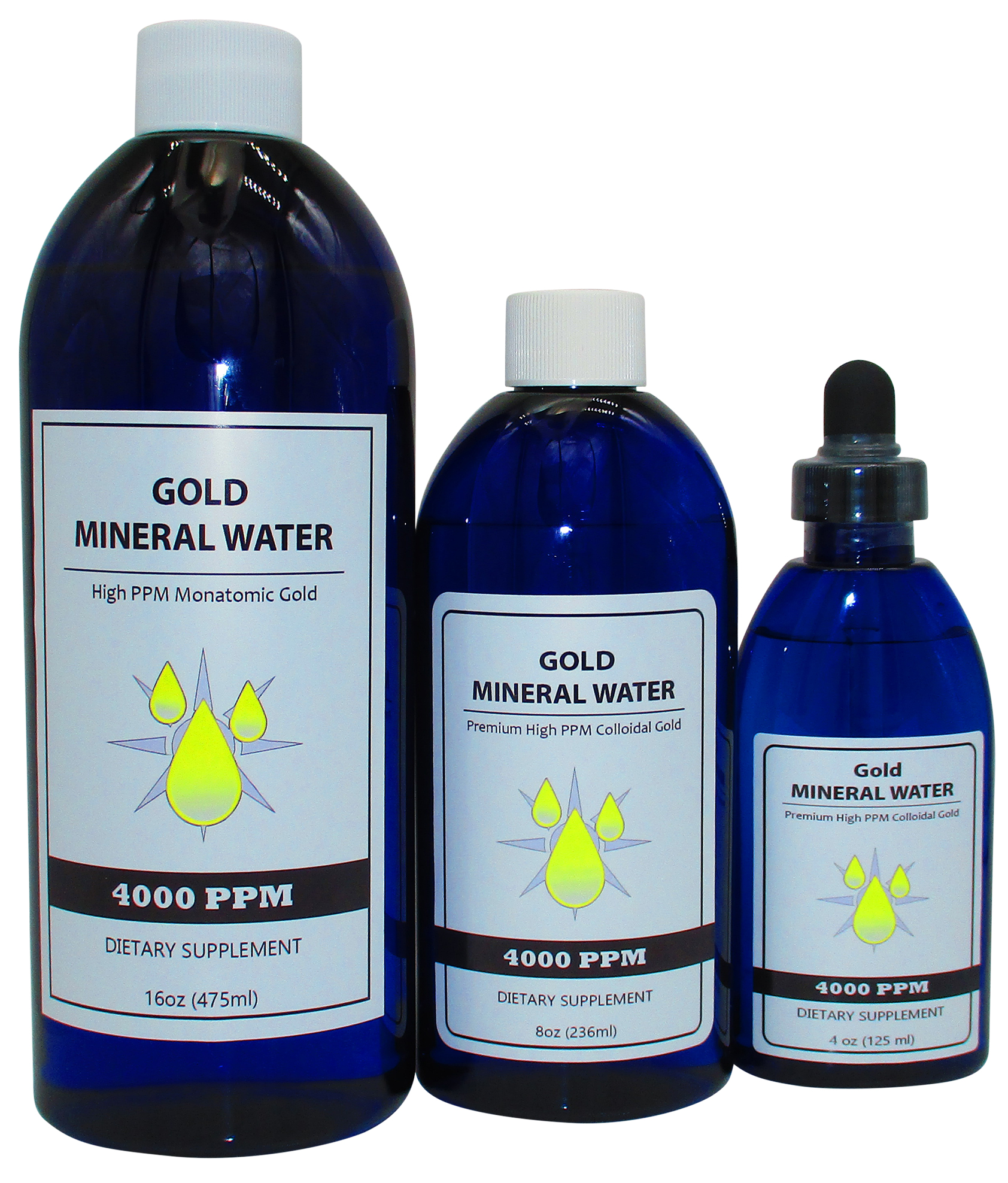4000 PPM Monatomic Colloidal Gold 16, 8 and 4 Ounce Bottles